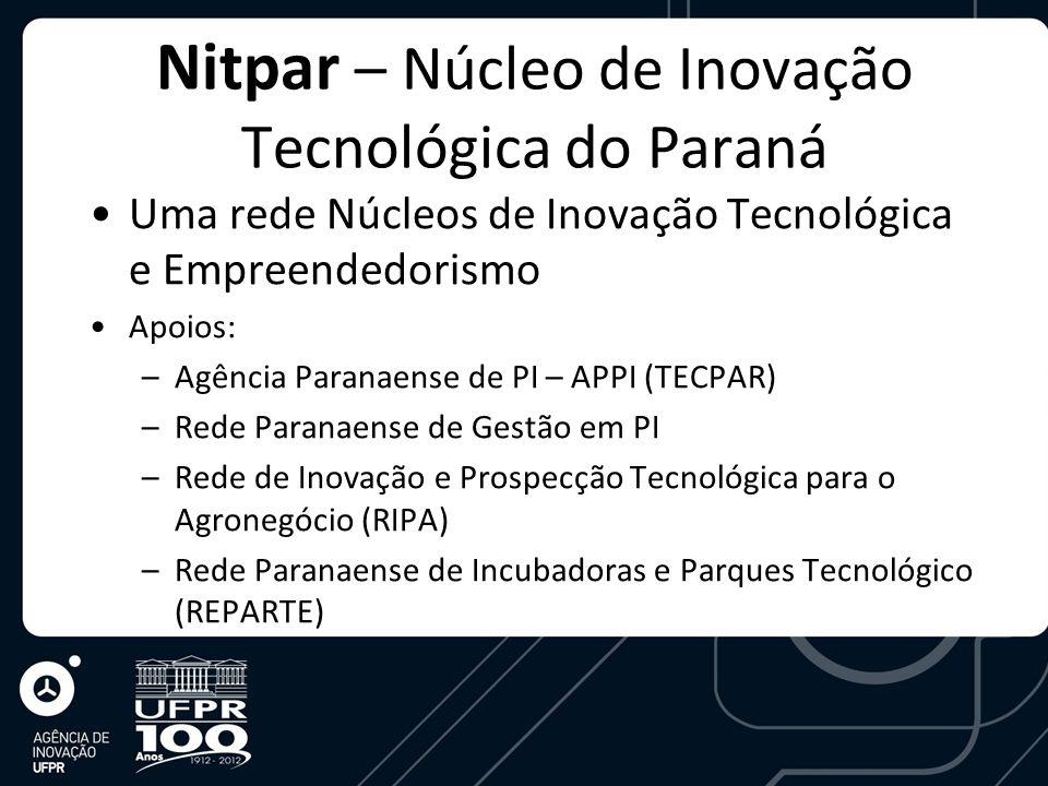 Nitpar – Núcleo de Inovação Tecnológica do Paraná Uma rede Núcleos de Inovação Tecnológica e Empreendedorismo Apoios: –Agência Paranaense de PI – APPI (TECPAR) –Rede Paranaense de Gestão em PI –Rede de Inovação e Prospecção Tecnológica para o Agronegócio (RIPA) –Rede Paranaense de Incubadoras e Parques Tecnológico (REPARTE)