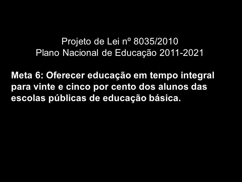 Projeto de Lei nº 8035/2010 Plano Nacional de Educação 2011-2021 Meta 6: Oferecer educação em tempo integral para vinte e cinco por cento dos alunos das escolas públicas de educação básica.