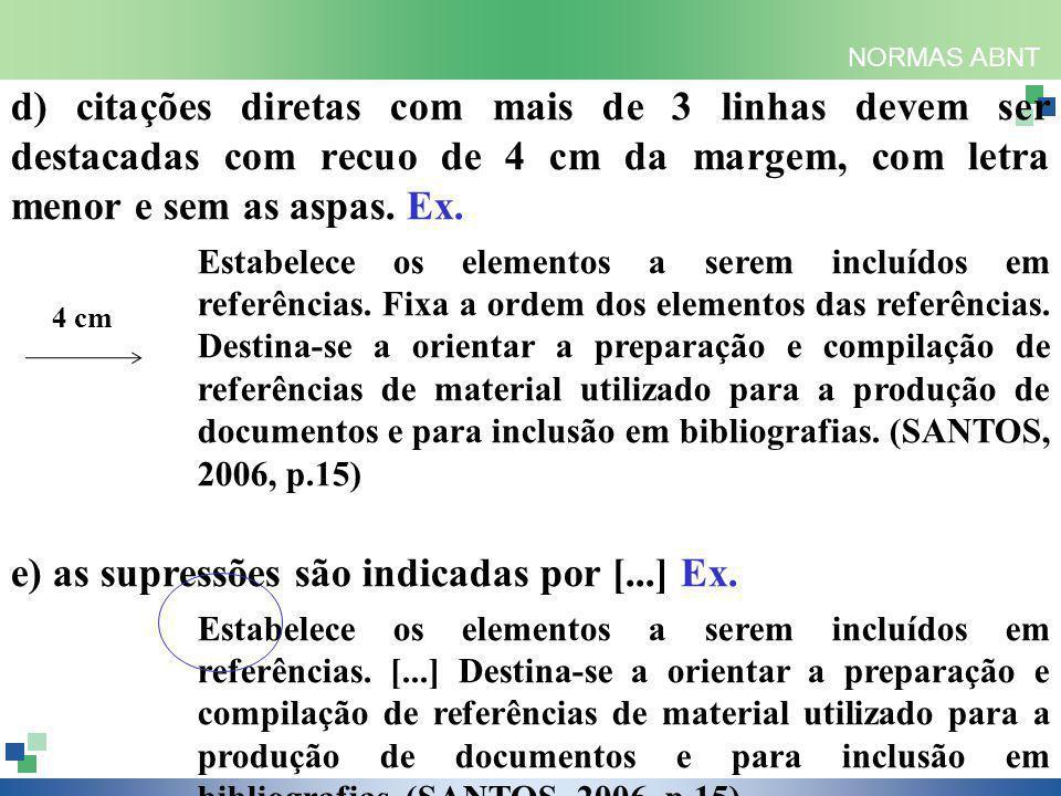NORMAS ABNT d) citações diretas com mais de 3 linhas devem ser destacadas com recuo de 4 cm da margem, com letra menor e sem as aspas.