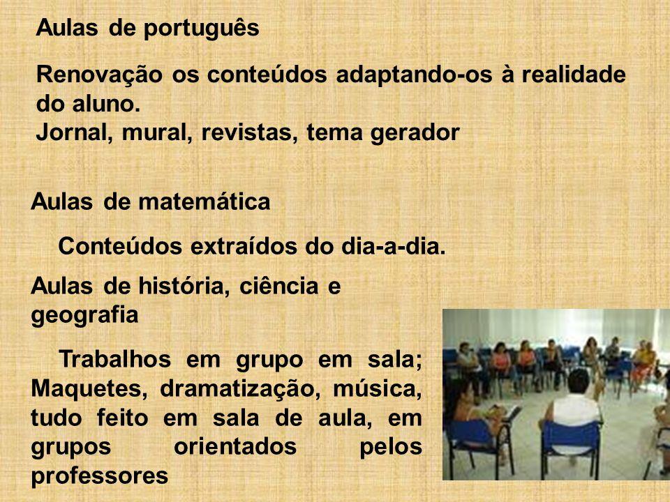 Aulas de matemática Conteúdos extraídos do dia-a-dia. Aulas de português Renovação os conteúdos adaptando-os à realidade do aluno. Jornal, mural, revi