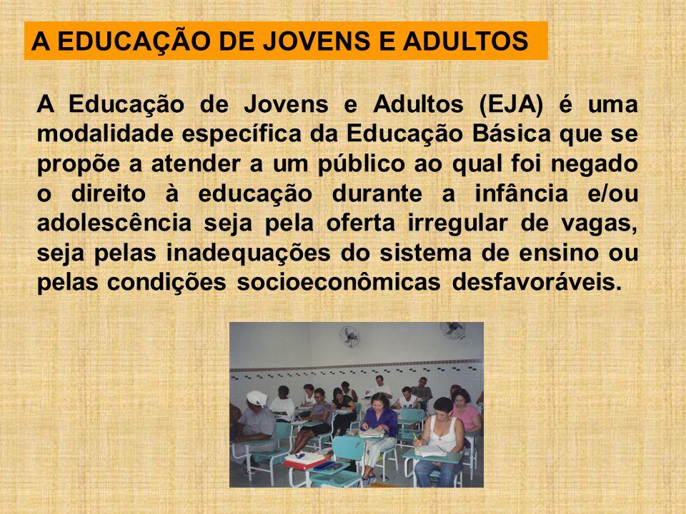 A EDUCAÇÃO DE JOVENS E ADULTOS A Educação de Jovens e Adultos (EJA) é uma modalidade específica da Educação Básica que se propõe a atender a um públic
