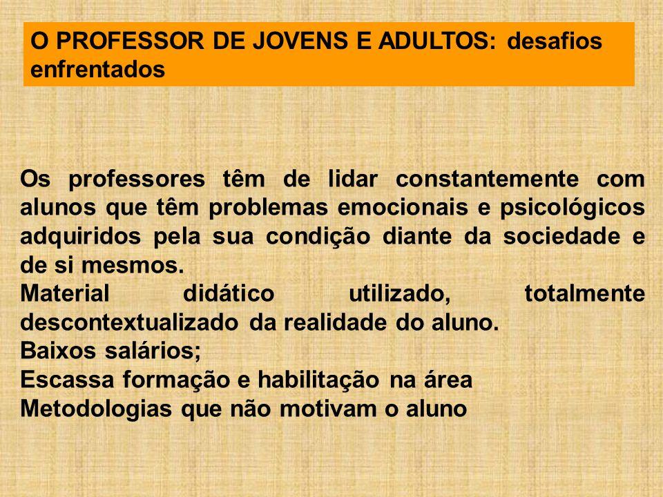 O PROFESSOR DE JOVENS E ADULTOS: desafios enfrentados Os professores têm de lidar constantemente com alunos que têm problemas emocionais e psicológico