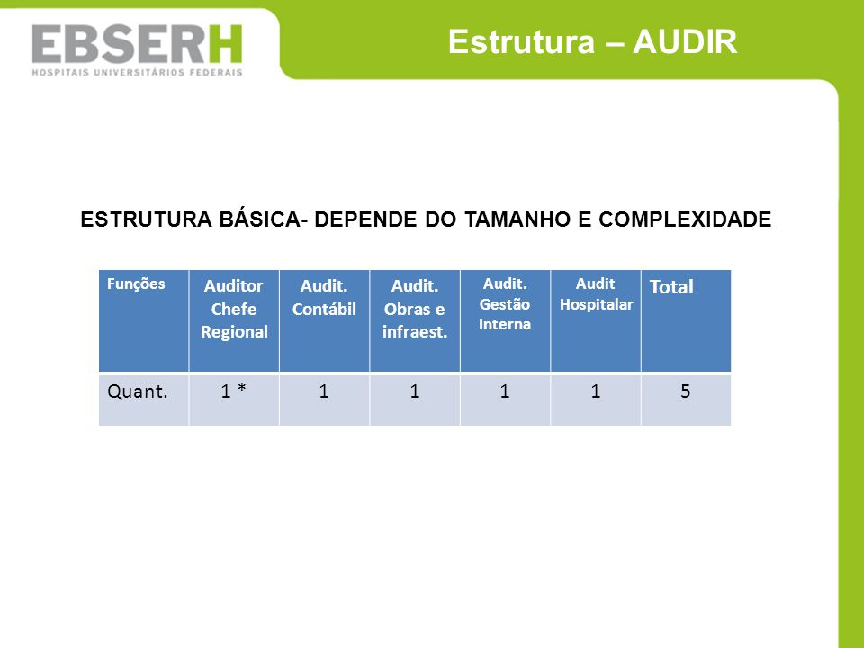 Funções Auditor Chefe Regional Audit. Contábil Audit. Obras e infraest. Audit. Gestão Interna Audit Hospitalar Total Quant.1 *11115 Estrutura – AUDIR