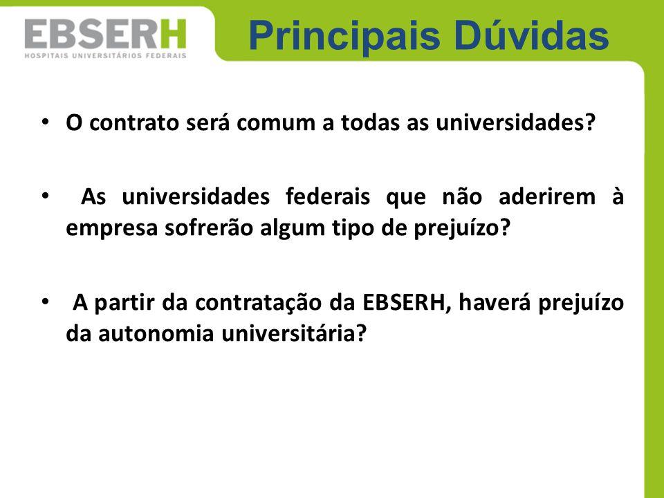 Principais Dúvidas O contrato será comum a todas as universidades? As universidades federais que não aderirem à empresa sofrerão algum tipo de prejuíz