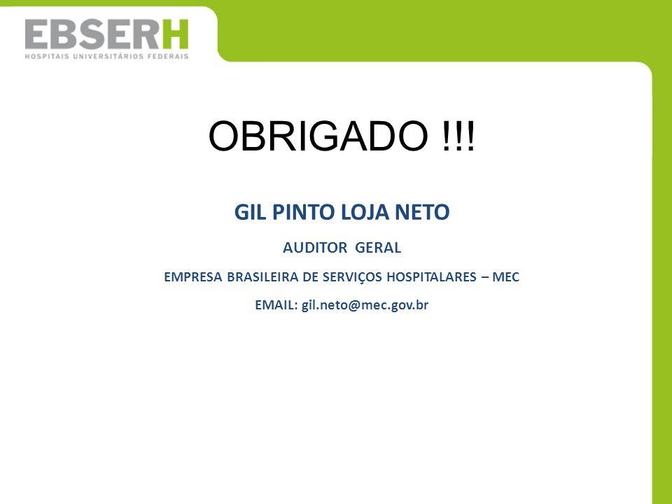 OBRIGADO !!! GIL PINTO LOJA NETO AUDITOR GERAL EMPRESA BRASILEIRA DE SERVIÇOS HOSPITALARES – MEC EMAIL: gil.neto@mec.gov.br
