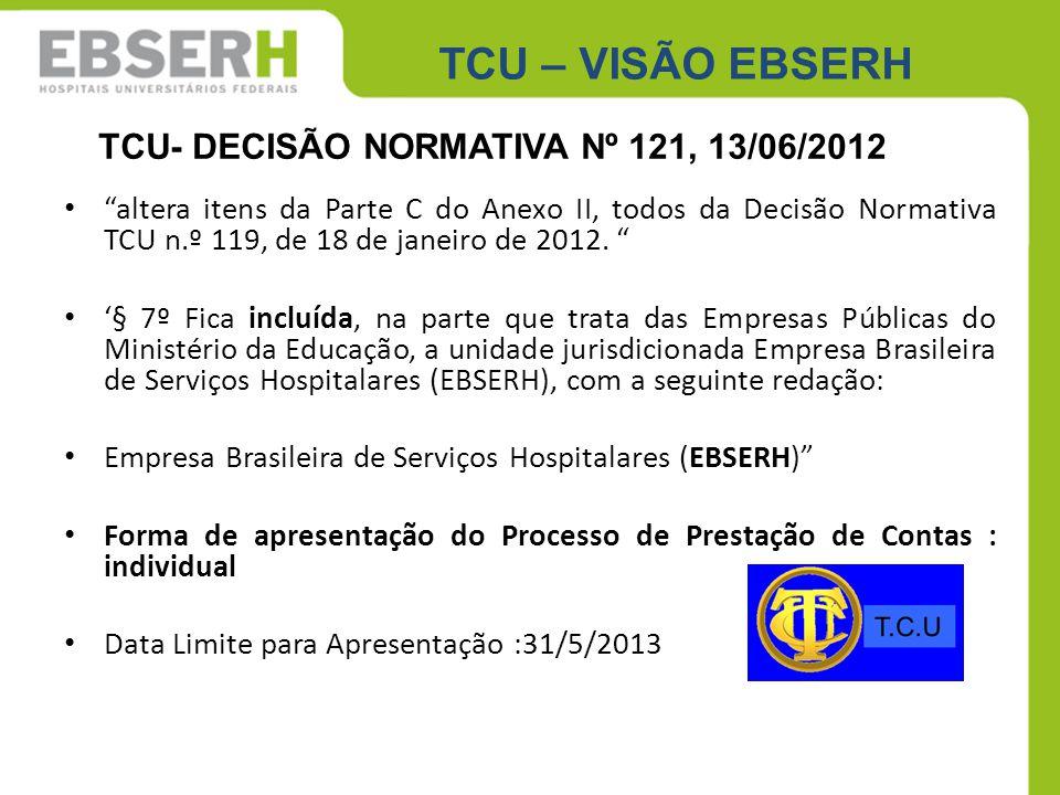 """TCU – VISÃO EBSERH """"altera itens da Parte C do Anexo II, todos da Decisão Normativa TCU n.º 119, de 18 de janeiro de 2012. """" '§ 7º Fica incluída, na p"""