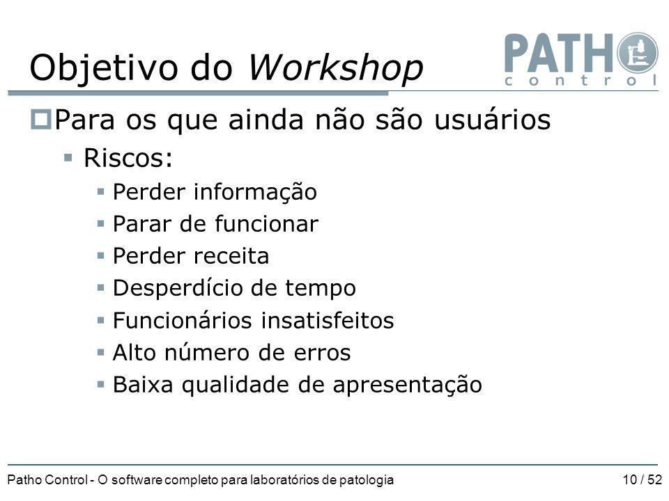Patho Control - O software completo para laboratórios de patologia10 / 52 Objetivo do Workshop  Para os que ainda não são usuários  Riscos:  Perder