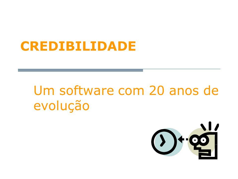 CREDIBILIDADE Um software com 20 anos de evolução