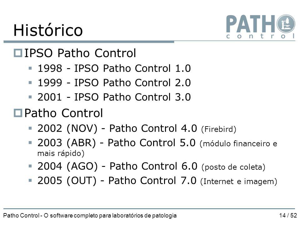 Patho Control - O software completo para laboratórios de patologia14 / 52 Histórico  IPSO Patho Control  1998 - IPSO Patho Control 1.0  1999 - IPSO