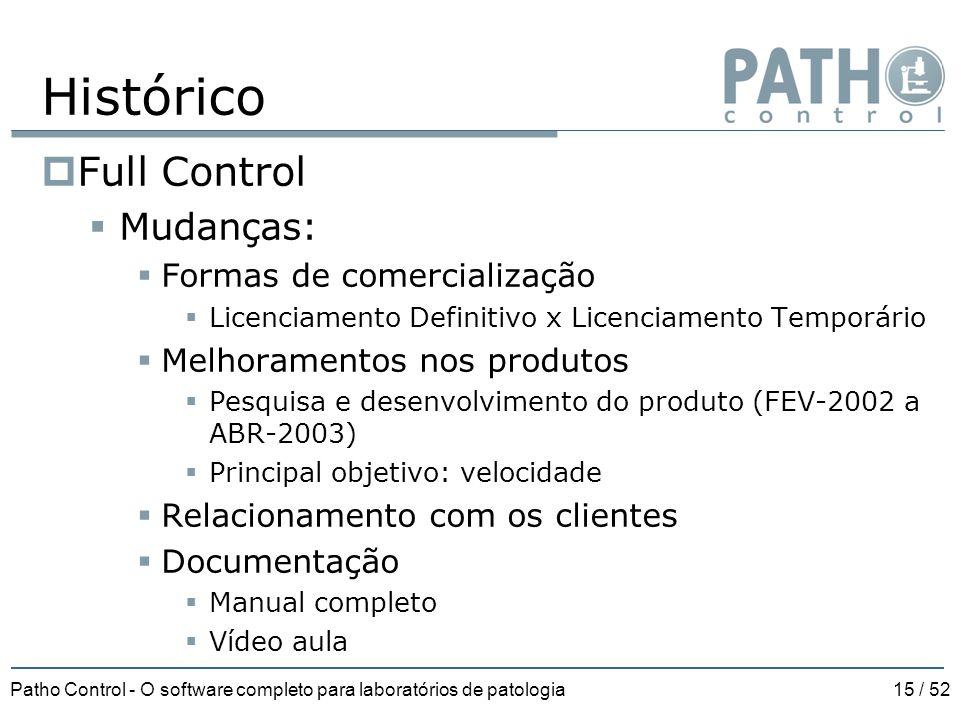 Patho Control - O software completo para laboratórios de patologia15 / 52  Full Control  Mudanças:  Formas de comercialização  Licenciamento Defin