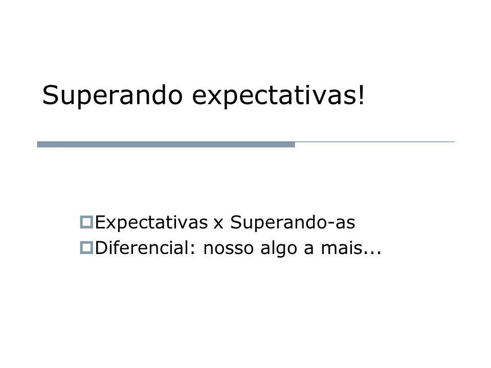 Superando expectativas!  Expectativas x Superando-as  Diferencial: nosso algo a mais...