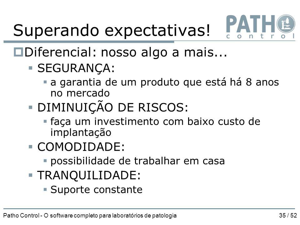 Patho Control - O software completo para laboratórios de patologia35 / 52 Superando expectativas!  Diferencial: nosso algo a mais...  SEGURANÇA:  a