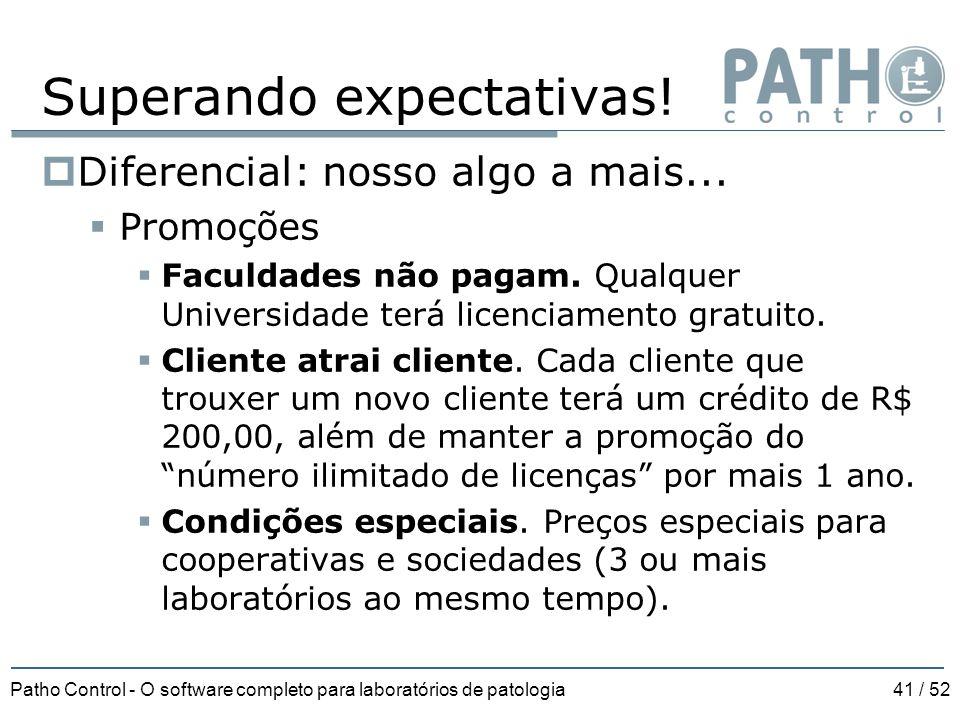 Patho Control - O software completo para laboratórios de patologia41 / 52 Superando expectativas!  Diferencial: nosso algo a mais...  Promoções  Fa