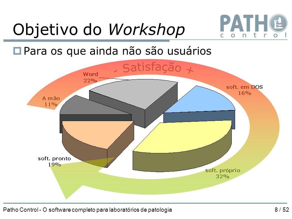 Patho Control - O software completo para laboratórios de patologia8 / 52 Objetivo do Workshop  Para os que ainda não são usuários