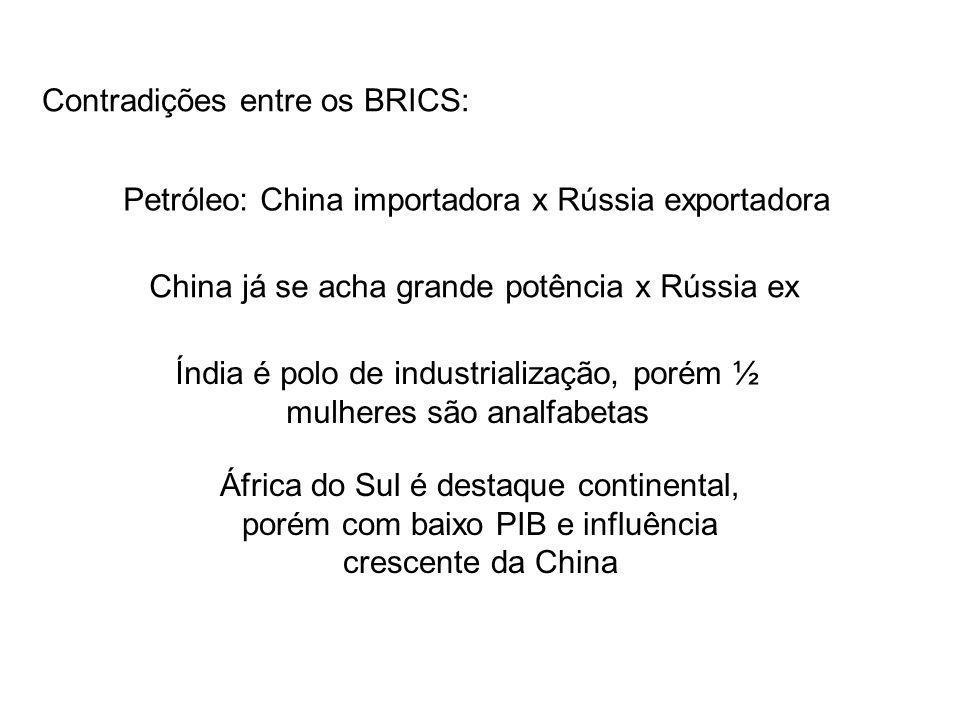 Contradições entre os BRICS: Petróleo: China importadora x Rússia exportadora China já se acha grande potência x Rússia ex Índia é polo de industrialização, porém ½ mulheres são analfabetas África do Sul é destaque continental, porém com baixo PIB e influência crescente da China