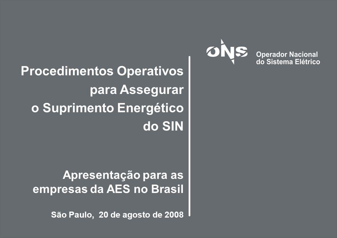Procedimentos Operativos para Assegurar o Suprimento Energético do SIN Apresentação para as empresas da AES no Brasil São Paulo, 20 de agosto de 2008