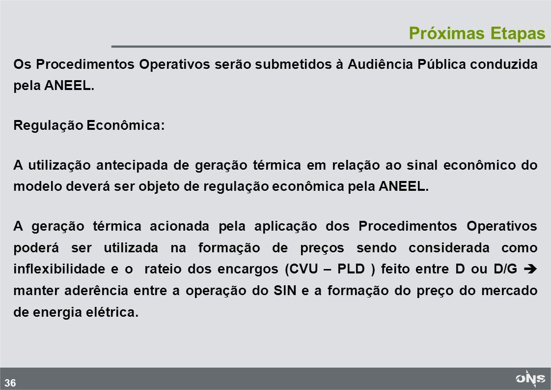 36 Próximas Etapas Os Procedimentos Operativos serão submetidos à Audiência Pública conduzida pela ANEEL. Regulação Econômica: A utilização antecipada