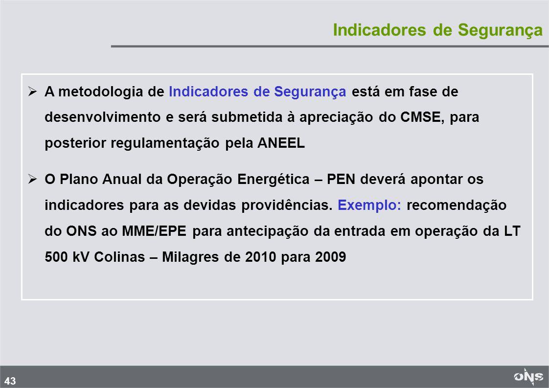 43   A metodologia de Indicadores de Segurança está em fase de desenvolvimento e será submetida à apreciação do CMSE, para posterior regulamentação