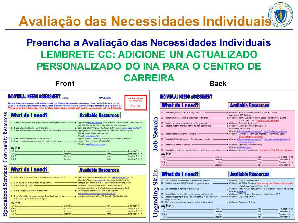 Avaliação das Necessidades Individuais Preencha a Avaliação das Necessidades Individuais LEMBRETE CC: ADICIONE UN ACTUALIZADO PERSONALIZADO DO INA PARA O CENTRO DE CARREIRA FrontBack 13
