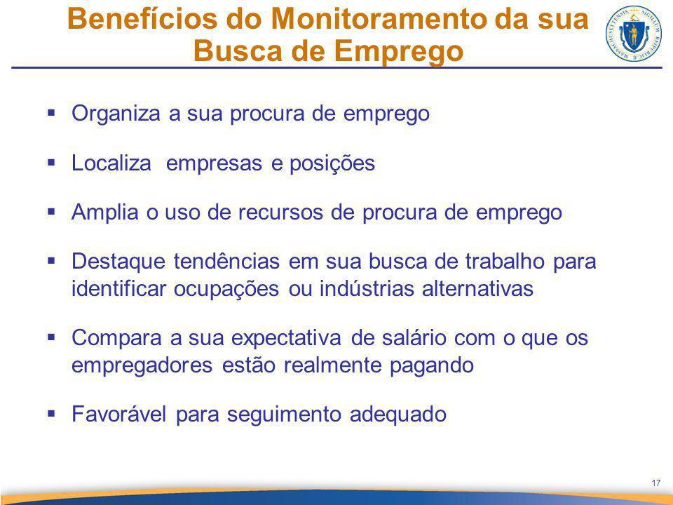 Benefícios do Monitoramento da sua Busca de Emprego 17  Organiza a sua procura de emprego  Localiza empresas e posições  Amplia o uso de recursos d