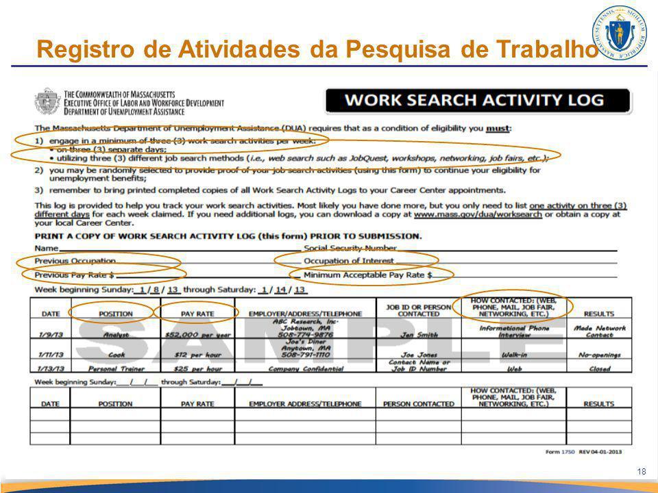 Registro de Atividades da Pesquisa de Trabalho 18