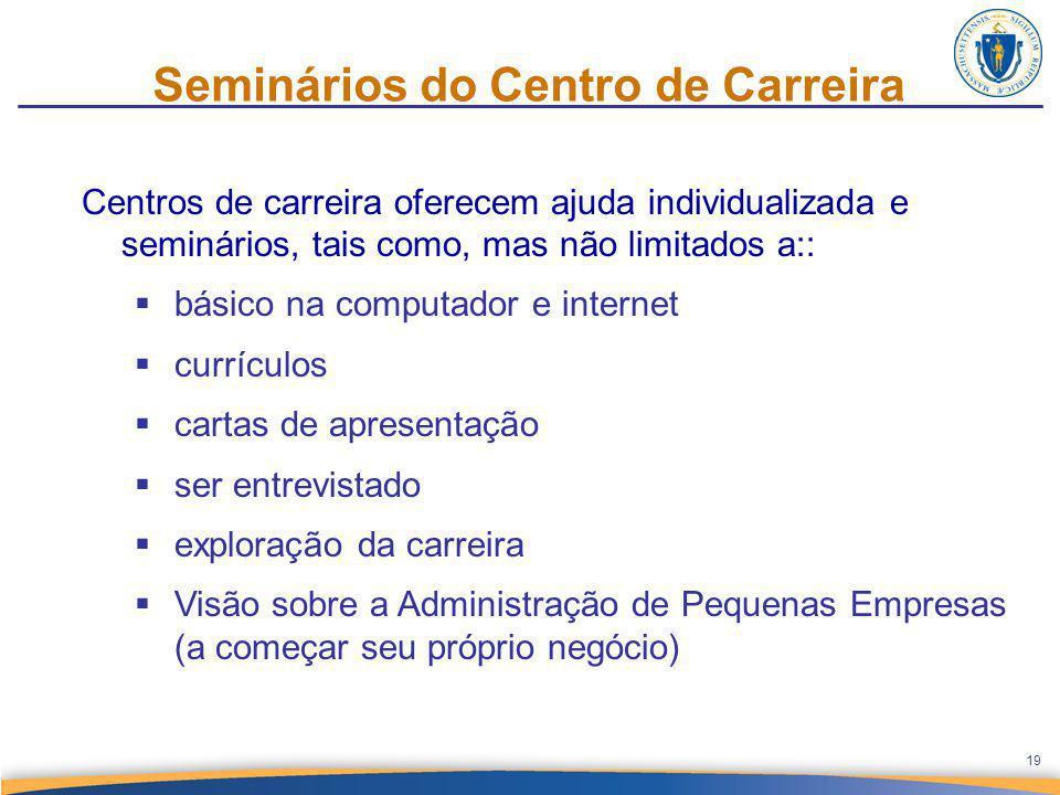 Seminários do Centro de Carreira Centros de carreira oferecem ajuda individualizada e seminários, tais como, mas não limitados a::  básico na computa