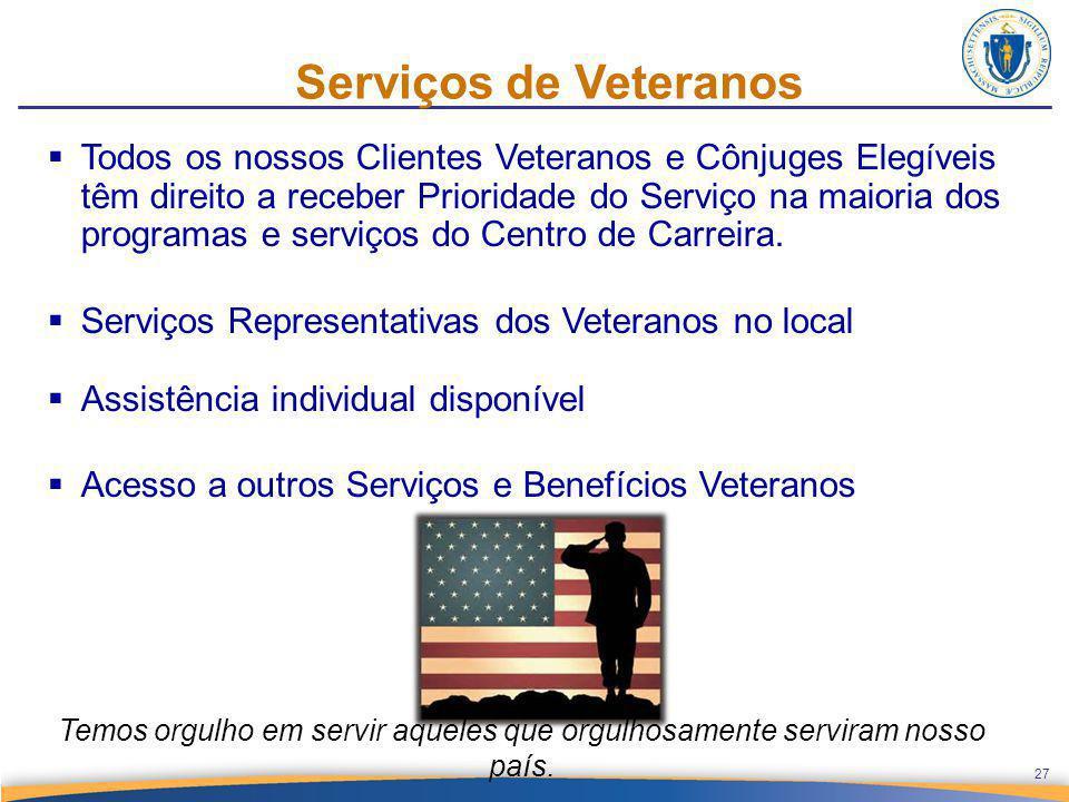 Serviços de Veteranos  Todos os nossos Clientes Veteranos e Cônjuges Elegíveis têm direito a receber Prioridade do Serviço na maioria dos programas e serviços do Centro de Carreira.