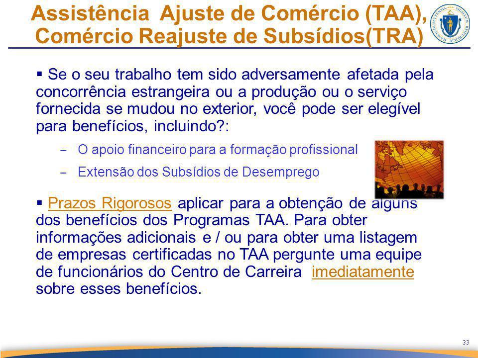 Assistência Ajuste de Comércio (TAA), Comércio Reajuste de Subsídios(TRA)  Se o seu trabalho tem sido adversamente afetada pela concorrência estrange