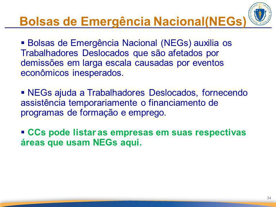 Bolsas de Emergência Nacional(NEGs)  Bolsas de Emergência Nacional (NEGs) auxilia os Trabalhadores Deslocados que são afetados por demissões em larga escala causadas por eventos econômicos inesperados.