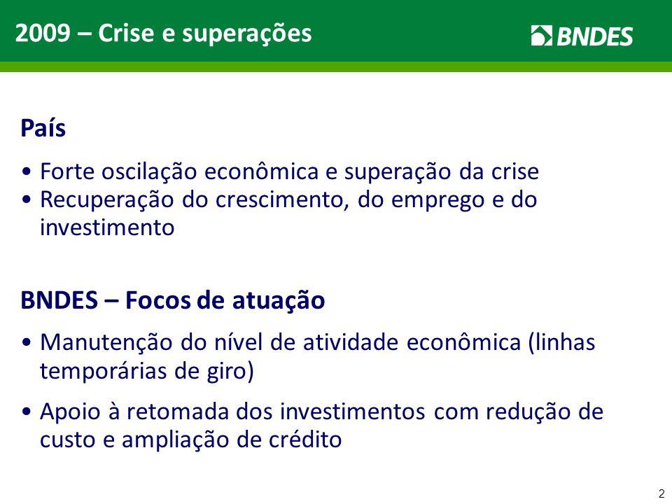 2 2009 – Crise e superações País Forte oscilação econômica e superação da crise Recuperação do crescimento, do emprego e do investimento BNDES – Focos