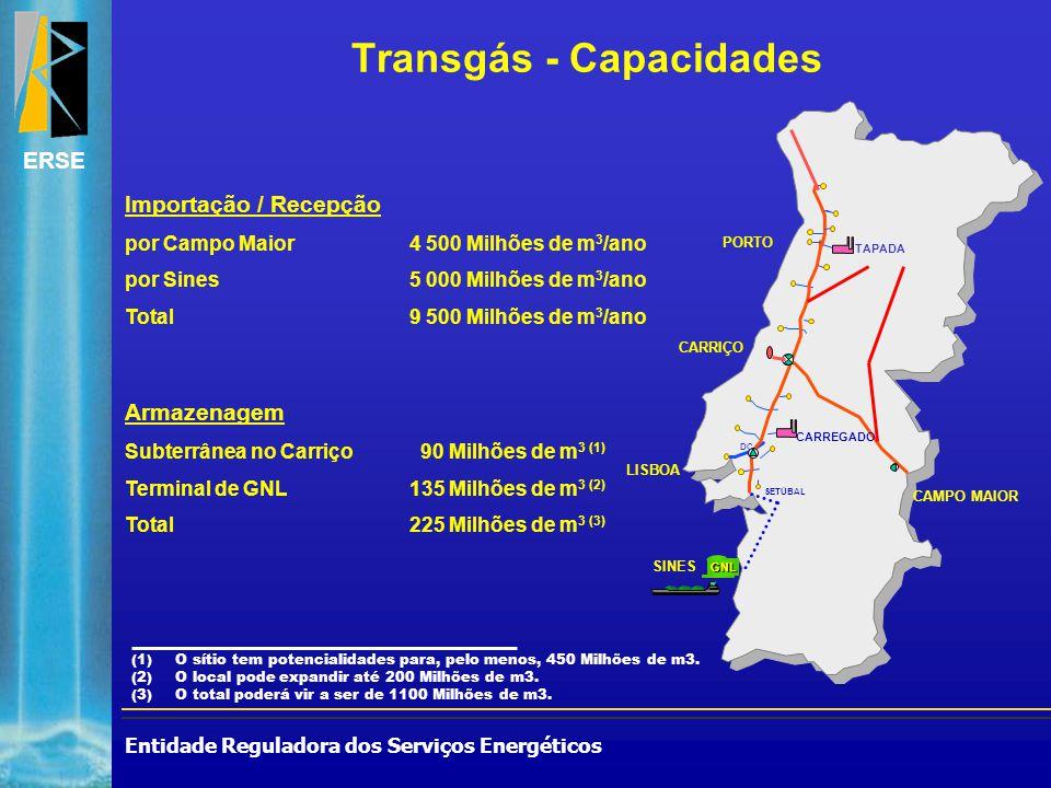 Entidade Reguladora dos Serviços Energéticos ERSE Transgás - Capacidades Importação / Recepção por Campo Maior4 500 Milhões de m 3 /ano por Sines5 000 Milhões de m 3 /ano Total9 500 Milhões de m 3 /ano Armazenagem Subterrânea no Carriço 90 Milhões de m 3 (1) Terminal de GNL135 Milhões de m 3 (2) Total225 Milhões de m 3 (3) (1)O sítio tem potencialidades para, pelo menos, 450 Milhões de m3.