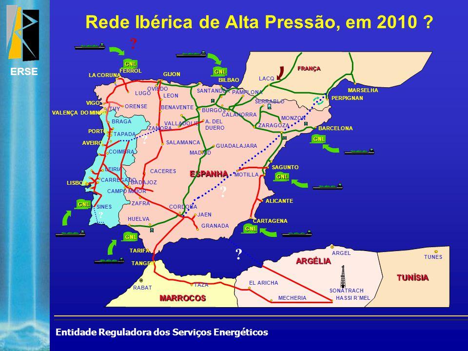 Entidade Reguladora dos Serviços Energéticos ERSE Rede Ibérica de Alta Pressão, em 2010 ? ? ESPANHA MARROCOS ARGÉLIA CARREGADO GRANADA JAEN CORDOBA HU