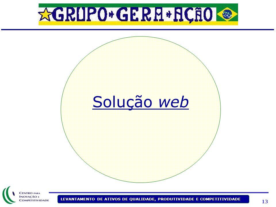 13 LEVANTAMENTO DE ATIVOS DE QUALIDADE, PRODUTIVIDADE E COMPETITIVIDADE Solução web
