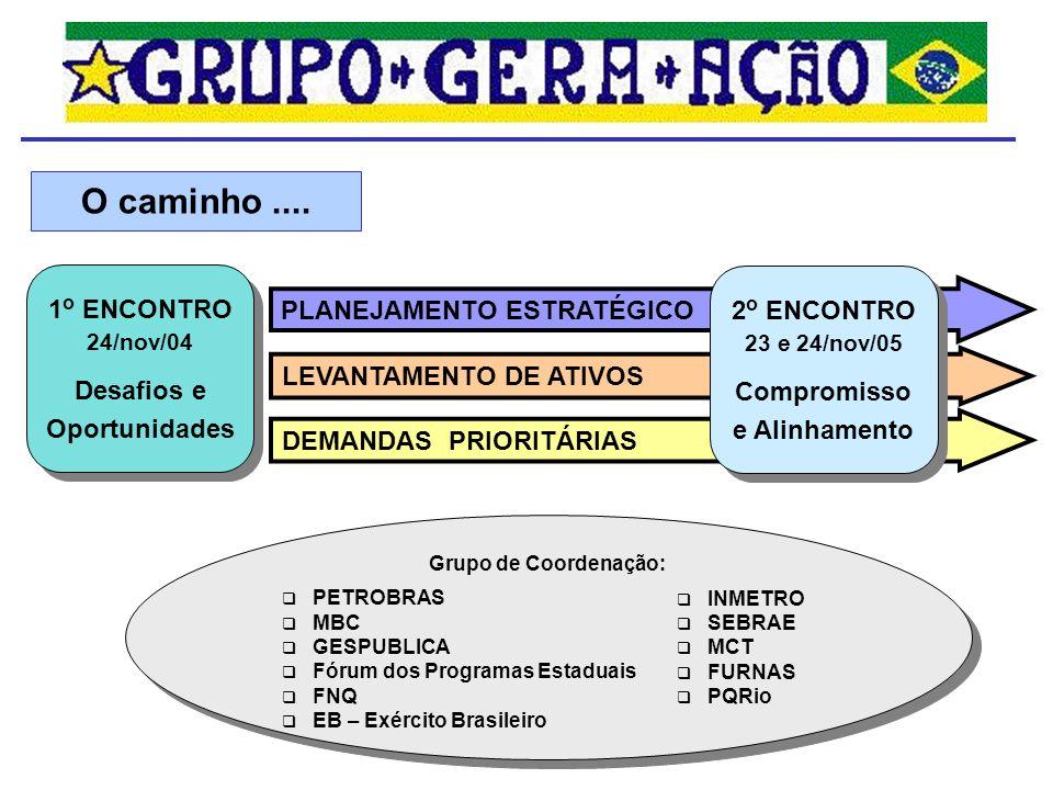 Grupo de Coordenação: 1 o ENCONTRO 24/nov/04 Desafios e Oportunidades 1 o ENCONTRO 24/nov/04 Desafios e Oportunidades O caminho.... PLANEJAMENTO ESTRA