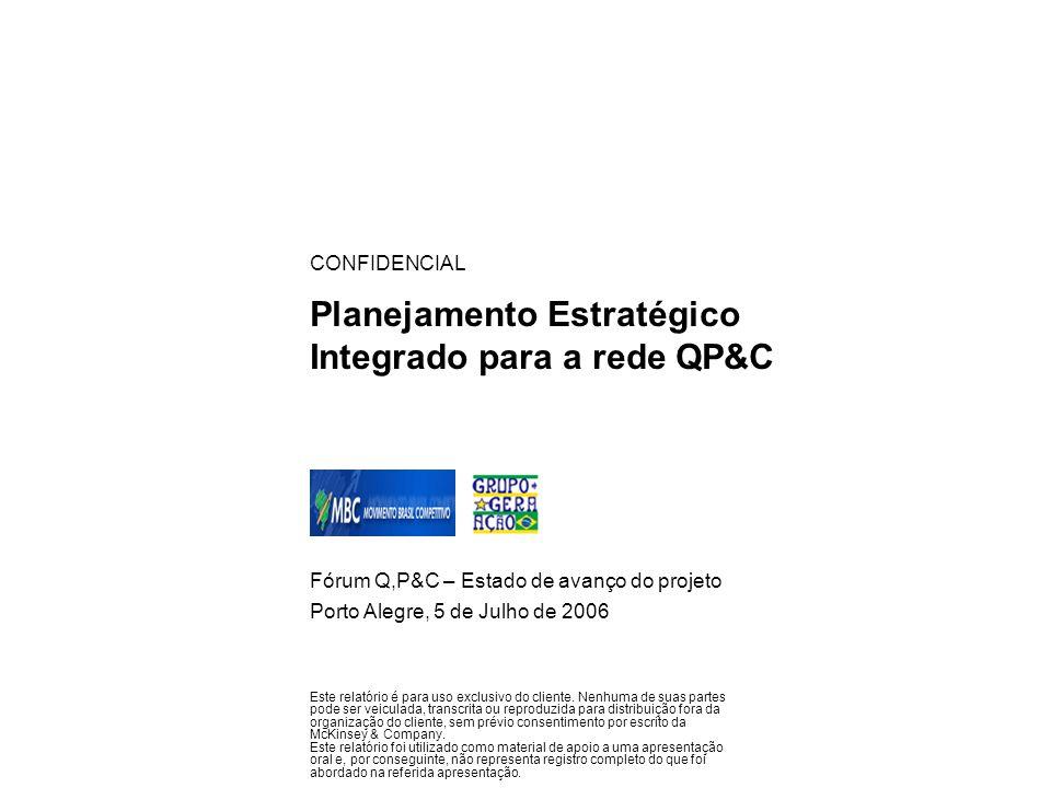 Planejamento Estratégico Integrado para a rede QP&C Fórum Q,P&C – Estado de avanço do projeto Porto Alegre, 5 de Julho de 2006 CONFIDENCIAL Este relat