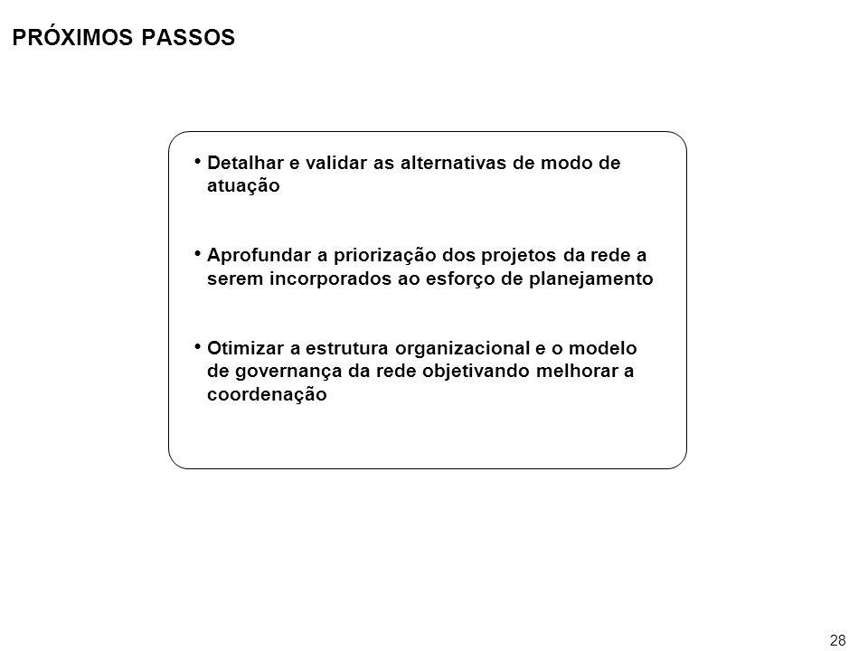 28 PRÓXIMOS PASSOS Detalhar e validar as alternativas de modo de atuação Aprofundar a priorização dos projetos da rede a serem incorporados ao esforço