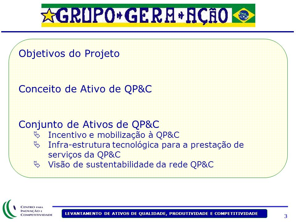 3 LEVANTAMENTO DE ATIVOS DE QUALIDADE, PRODUTIVIDADE E COMPETITIVIDADE Objetivos do Projeto Conceito de Ativo de QP&C Conjunto de Ativos de QP&C  Inc