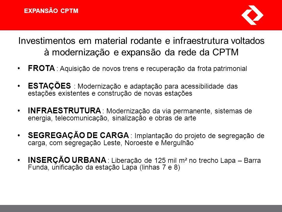 EXPANSÃO CPTM Investimentos em material rodante e infraestrutura voltados à modernização e expansão da rede da CPTM FROTA : Aquisição de novos trens e