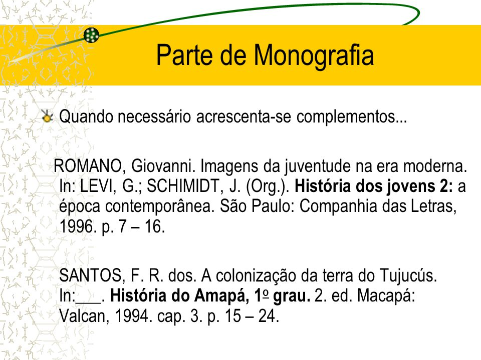 Parte de Monografia Quando necessário acrescenta-se complementos... ROMANO, Giovanni. Imagens da juventude na era moderna. In: LEVI, G.; SCHIMIDT, J.