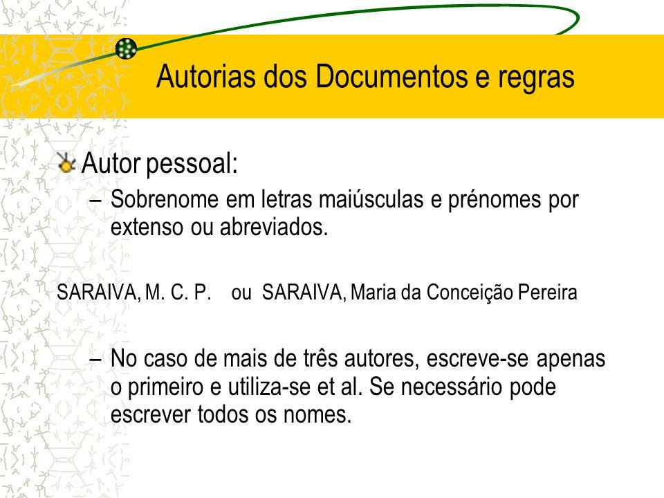 Autorias dos Documentos e regras Autor pessoal: –Sobrenome em letras maiúsculas e prénomes por extenso ou abreviados. SARAIVA, M. C. P. ou SARAIVA, Ma