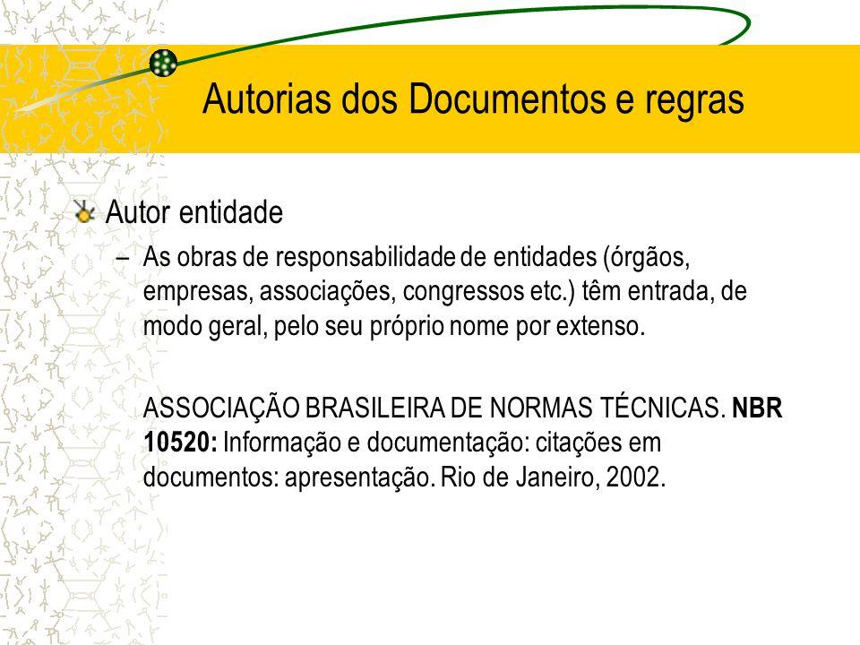 Autorias dos Documentos e regras Autor entidade –As obras de responsabilidade de entidades (órgãos, empresas, associações, congressos etc.) têm entrad