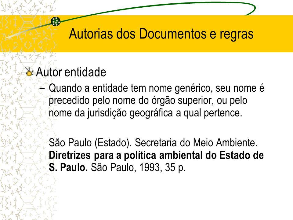 Autorias dos Documentos e regras Autor entidade –Quando a entidade tem nome genérico, seu nome é precedido pelo nome do órgão superior, ou pelo nome d