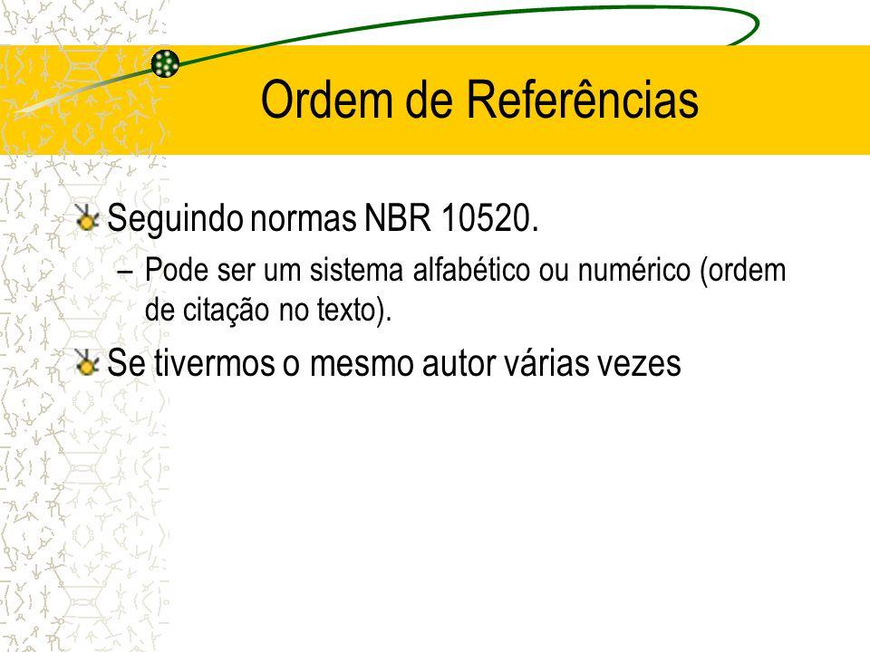 Ordem de Referências Seguindo normas NBR 10520. –Pode ser um sistema alfabético ou numérico (ordem de citação no texto). Se tivermos o mesmo autor vár