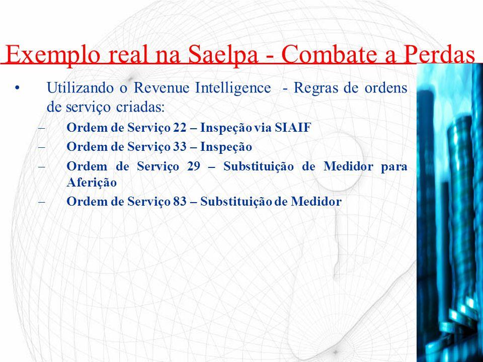 Utilizando o Revenue Intelligence - Regras de ordens de serviço criadas: –Ordem de Serviço 22 – Inspeção via SIAIF –Ordem de Serviço 33 – Inspeção –Or