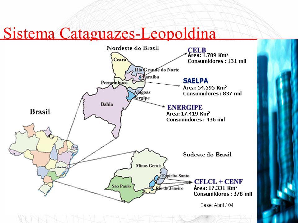 Sistema Cataguazes-Leopoldina Nordeste do Brasil Sudeste do Brasil Brasil SAELPA Área: 54.595 Km 2 Consumidores : 837 mil Área: 1.789 Km 2 Consumidore