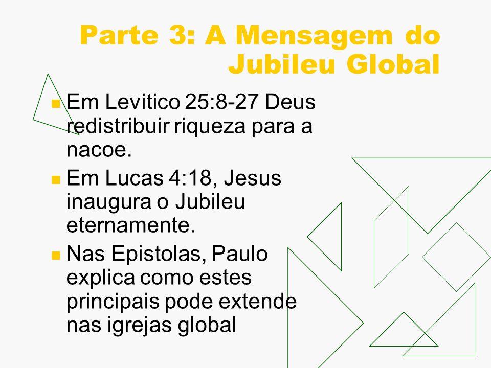 Parte 3: A Mensagem do Jubileu Global Em Levitico 25:8-27 Deus redistribuir riqueza para a nacoe.