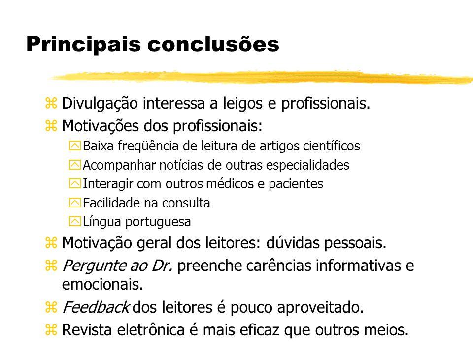 Principais conclusões zDivulgação interessa a leigos e profissionais. zMotivações dos profissionais: yBaixa freqüência de leitura de artigos científic