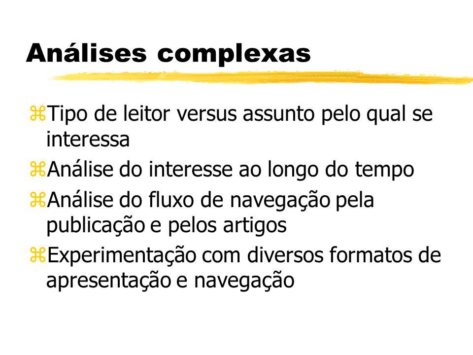 Análises complexas zTipo de leitor versus assunto pelo qual se interessa zAnálise do interesse ao longo do tempo zAnálise do fluxo de navegação pela publicação e pelos artigos zExperimentação com diversos formatos de apresentação e navegação