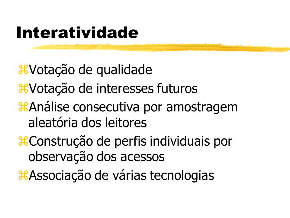 Interatividade zVotação de qualidade zVotação de interesses futuros zAnálise consecutiva por amostragem aleatória dos leitores zConstrução de perfis individuais por observação dos acessos zAssociação de várias tecnologias