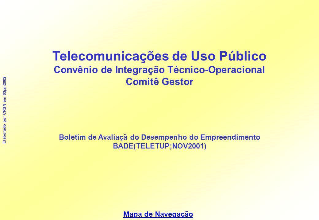 Mapa de Navegação Elaborado por CRSN em 03jan2002 Telecomunicações de Uso Público Convênio de Integração Técnico-Operacional Comitê Gestor Boletim de Avaliaçã do Desempenho do Empreendimento BADE(TELETUP;NOV2001)